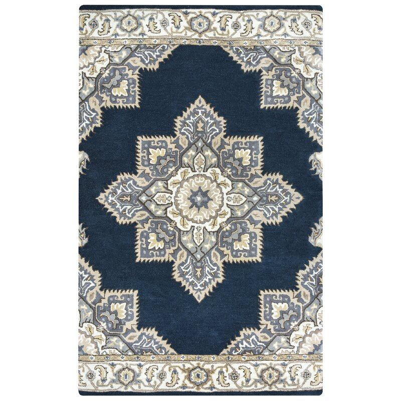 Alcott Hill Valley Hand-Knotted Wool Indigo/Beige Area Rug, Size: Rectangle 8 x 10