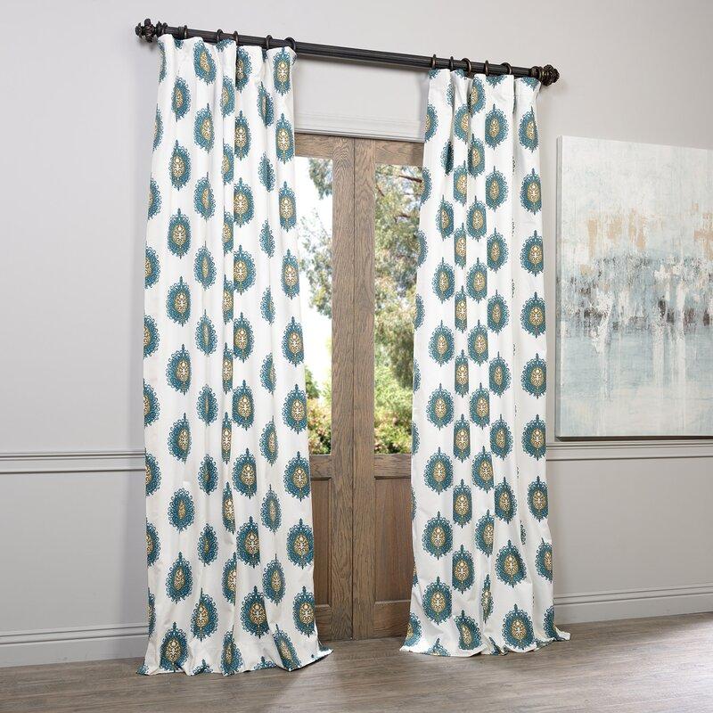 Gustavo Ikat Pinch Pleat Semi-Opaque Single Curtain Panel ...