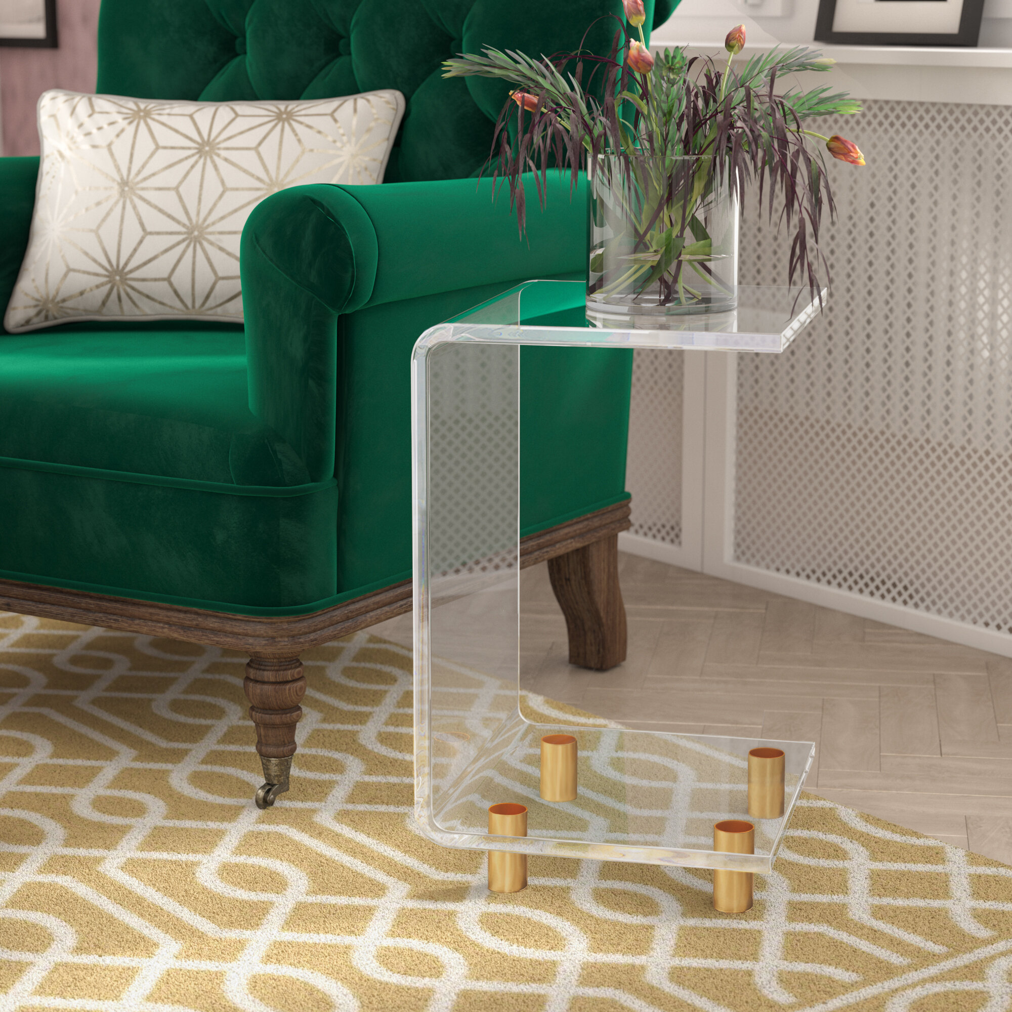 Willa Arlo Interiors Neves Acrlylic C Shape End Table &