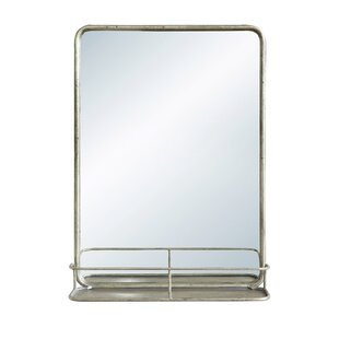 P Metal Wall Mirror With Shelf