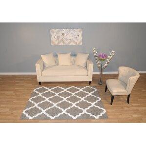 garen moroccan trellis graywhite shag area rug