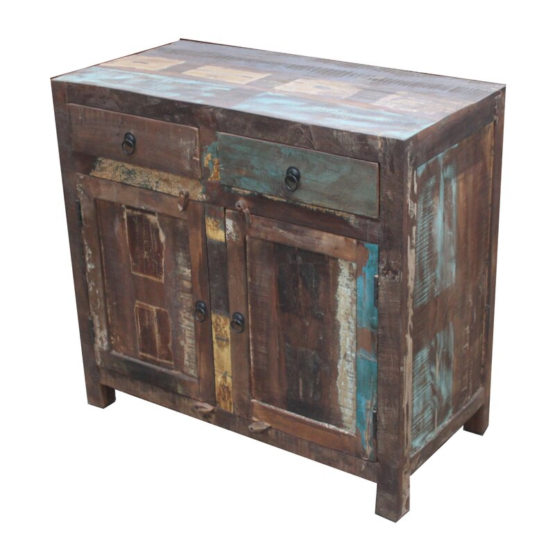 Reclaimed Wood 2-Door 2 Drawer Sideboard Accent Cabinet