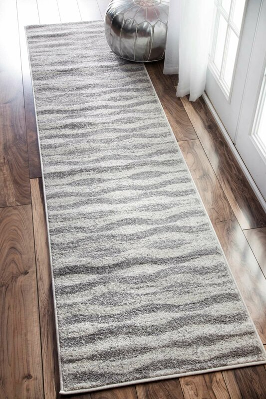 Mercury Row Lada Abstract Waves Grey White Area Rug