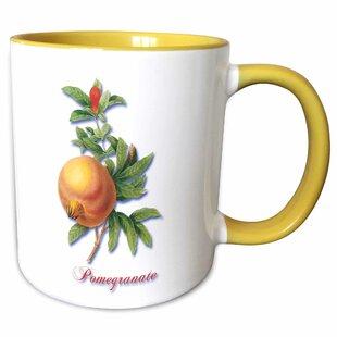 3053b417020 Horicon Large Ripe Pomegranate and Flower Botanical Fruit Print Coffee Mug