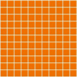 1 X Gl Mosaic Tile In Glossy Orange