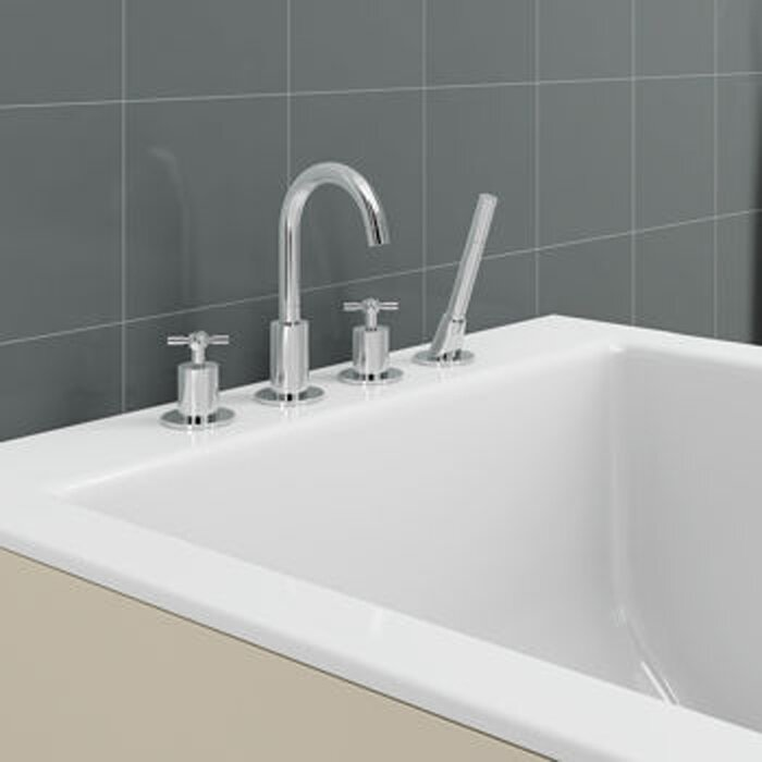 Ancona Prima Double Handle Deck Mount Bathtub Faucet with Shower ...