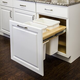 Top Mount Soft Close Double Solid Wood Open Pull Out/Under Counter Trash Can