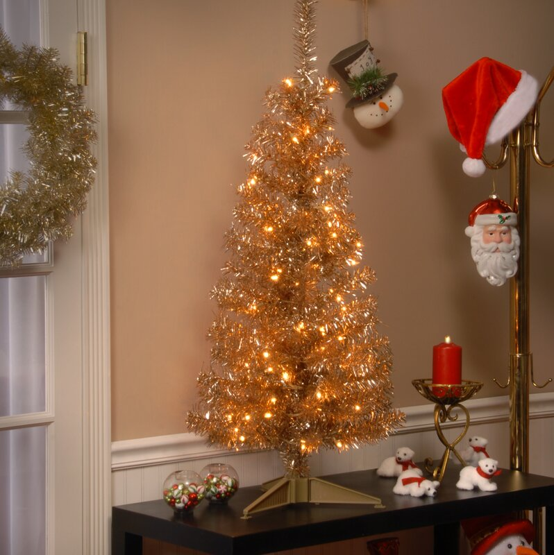 Tinsel Trees 4u0027 Champagne Artificial Christmas Tree With 70 Clear Lights  And Stand