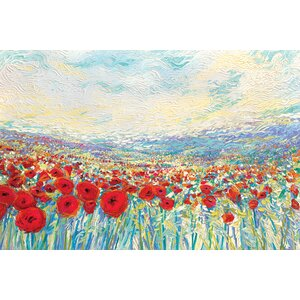 Iris Scott - 'Poppies of Oz' Rectangle Painting Print on Wrapped Canvas