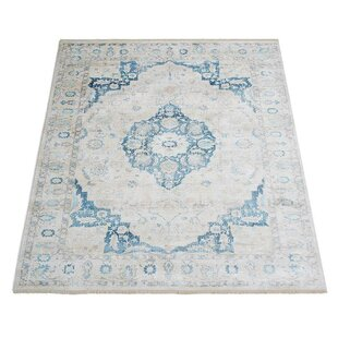 Affordable Resaca Oriental Aqua/White Area Rug By Ophelia & Co.