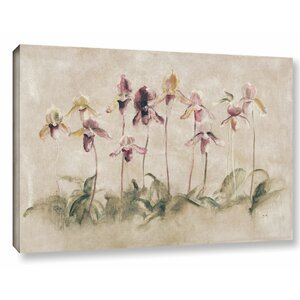 'Purple Dancing Orchids' by Cheri Blum Painting Print on Wrapped Canvas