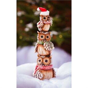 winter owl totem figurine - Outdoor Owl Christmas Decorations