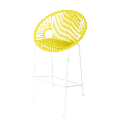 Brayden Studio Croft Counter 26 Patio Bar Stool Frame Color: White, Seat Color: Yellow