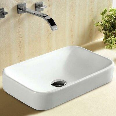 Porcelain Curved Rectangular Vessel Bathroom Sink