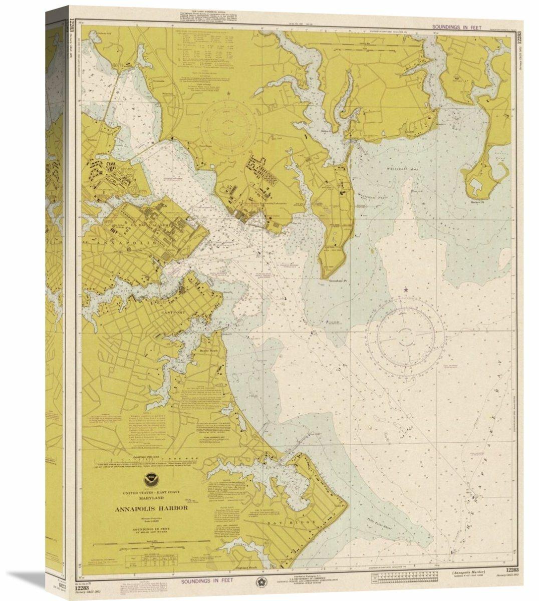 Global Gallery Nautical Chart Annapolis Harbor Ca 1975
