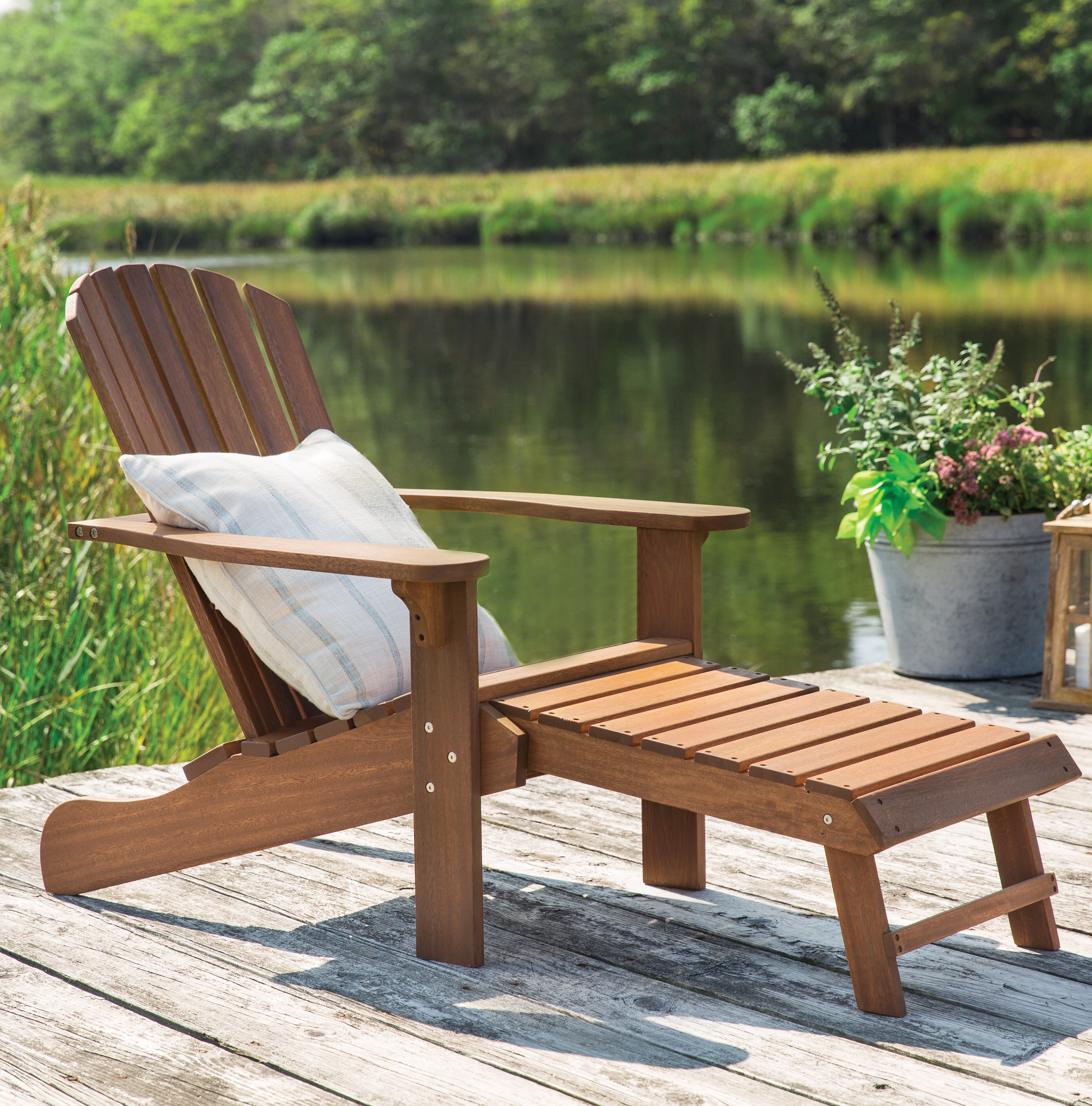 Birch Lane™ Solid Wood Adirondack Chair With Ottoman U0026 Reviews | Birch Lane