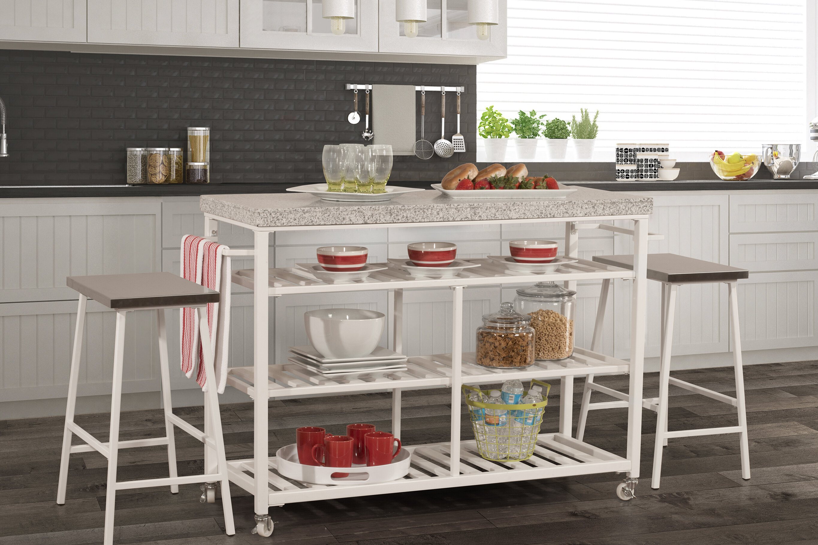 Droitwich Kitchen Island Set with Granite Top