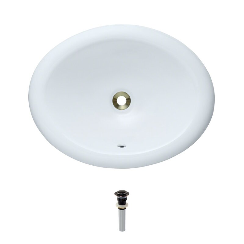 Vitreous China Oval Drop-In Bathroom Sink with Overflow with Drain Assembly