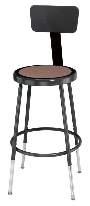 National public seating height adjustable stool with back for Garage seat valence
