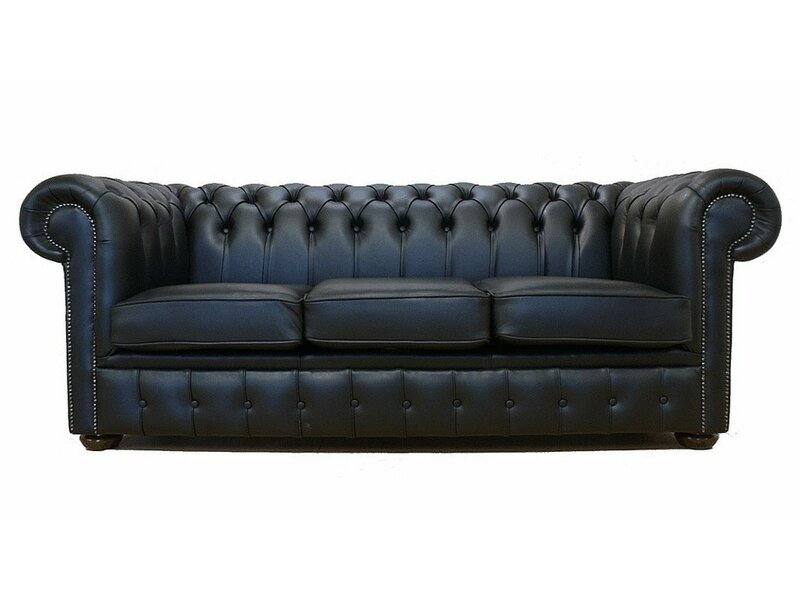 Lansdale Genuine Leather 3 Seater Chesterfield Sofa Bed