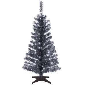 tinsel trees 4 black artificial christmas tree with plastic stand - Black Christmas Trees