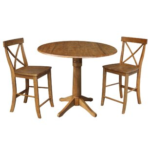 New Britain Round Top Pedestal Extending 3 Piece Counter Height Drop Leaf Dining Set