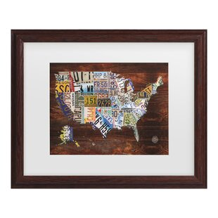 USA License Plate Map On Wood Textual Art