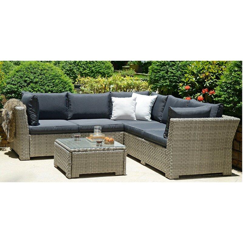 Lynton Garden Dax 4 Seater Rattan Effect Corner Sofa Set ...