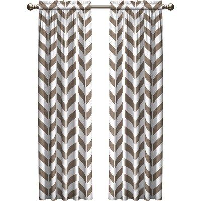 Ebern Designs Bayshore Chevron Light Filtering Rod Pocket Curtain Panels Size per Panel: 28 W x 63 L, Color: Taupe