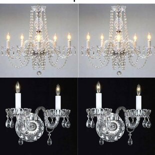 Chandelier wall sconce wayfair little italy 4 piece crystal chandelier and wall sconce set aloadofball Image collections