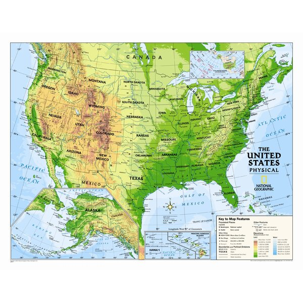 National Geographic Maps Kids Physical USA Wall Map Graded 412