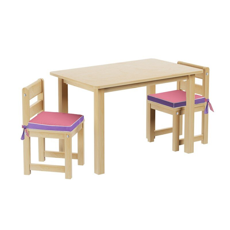 Kids 3 Piece Rectangle Table And Chair Set With Seat Pad
