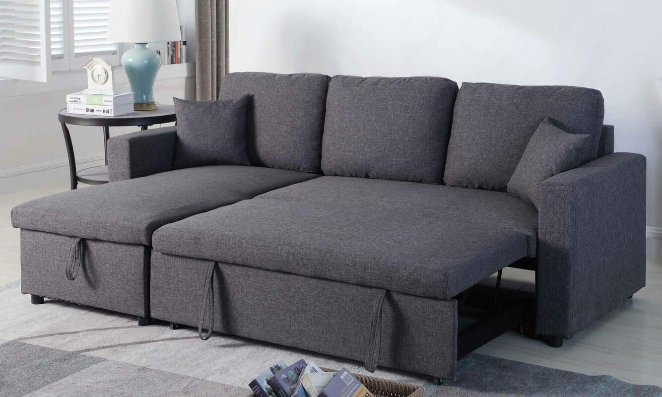Ebern Designs Mullaney Reversible Storage Pull Out Bed Sleeper  ~ Sectional Sofa Bed Sleeper