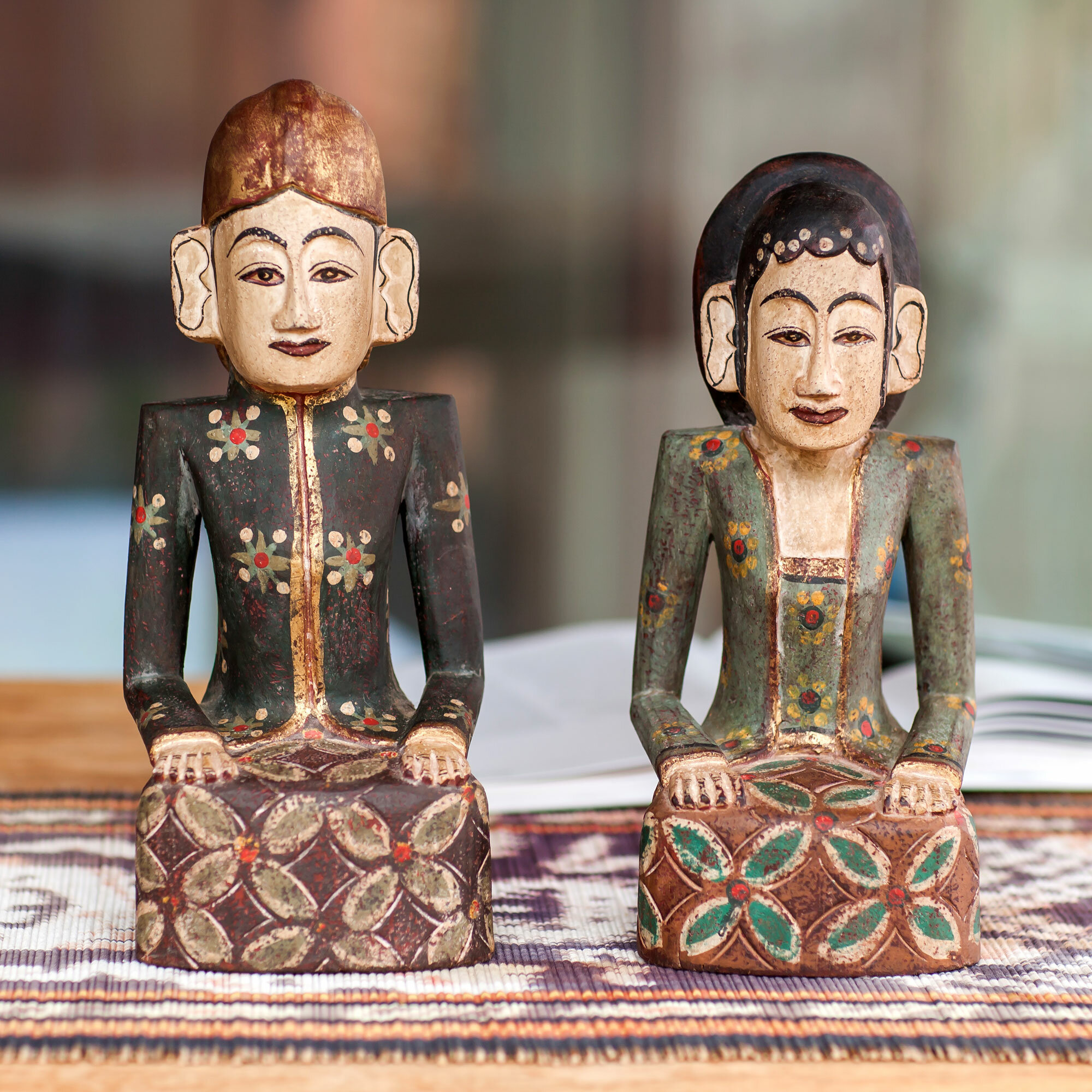 Novica 2 Piece Jogja Wedding Couple Unique Wood Figurine Set | Wayfair