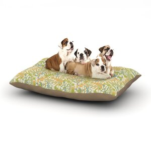 Julia Grifol 'Warm Tropical Leaves' Dog Pillow with Fleece Cozy Top