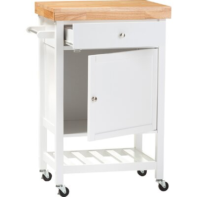 Andover Mills Lucrezia Kitchen Cart with Wood Top
