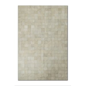 Aayush Four Square Patch Hand-Woven Cowhide Off White Area Rugu00a0
