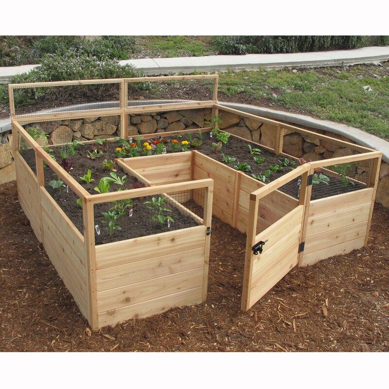 8 Ft X Raised Cedar Garden Bed With Deer Fence Kit