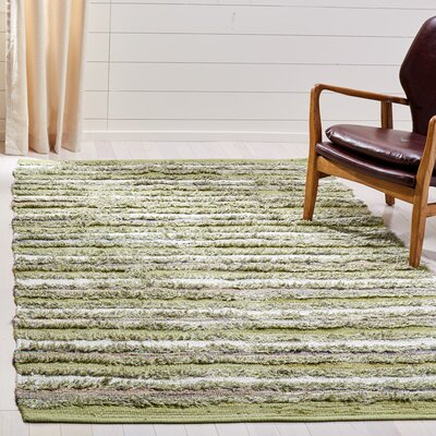 Bester Hand Woven Cotton Green Area Rug
