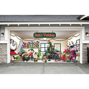 santas workshop garage door mural - Garage Christmas Decorations