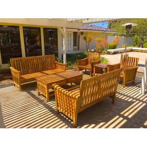 Teak Outdoor Patio Furniture 6 Piece Deep Seating Group With Sunbrella  Cushion Part 4