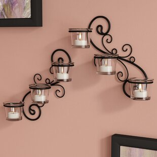 Decorative Wall 2 Piece Glass Sconce Set & Decorative Wall Plate Holders | Wayfair