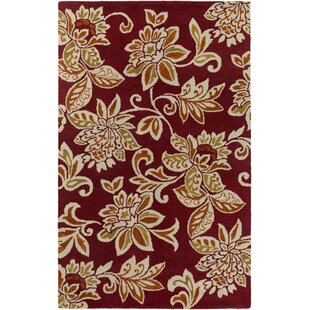 Best Reviews Eberhard Hand-Tufted Red/Off-White Area Rug ByCharlton Home