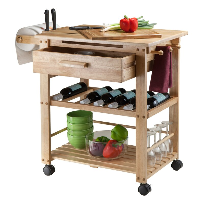 Winsome Finland Kitchen Cart With Wooden Top & Reviews