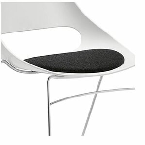 Echo Armless Stacking Chair white w/black vinyl seat cushion (Set of 4) by Sandler Seating