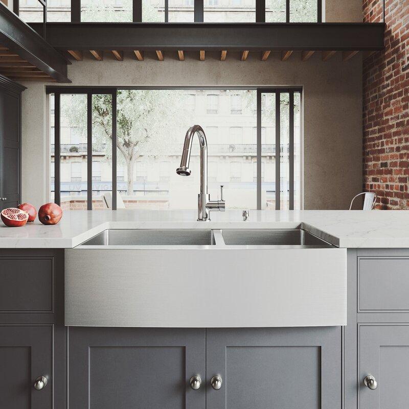 bingham 33 l x 22 w double basin farmhouse sink with - Double Farmhouse Sink