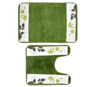 Mayan 2 Piece Leaf Banded Bath Rug Set