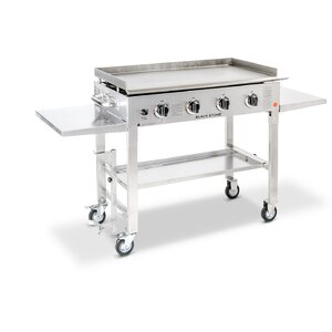 4-Burner Propane Gas Grill with Side Shelves