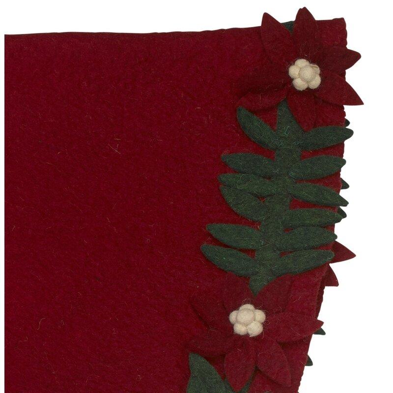 Poinsettia Wreath Hand Felted Tree Skirt