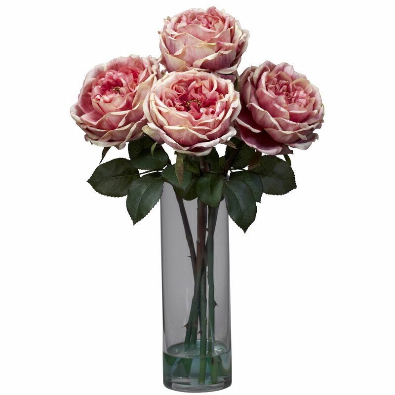 Fancy Rose With Cylinder Vase Silk Fl Arrangements In Pink
